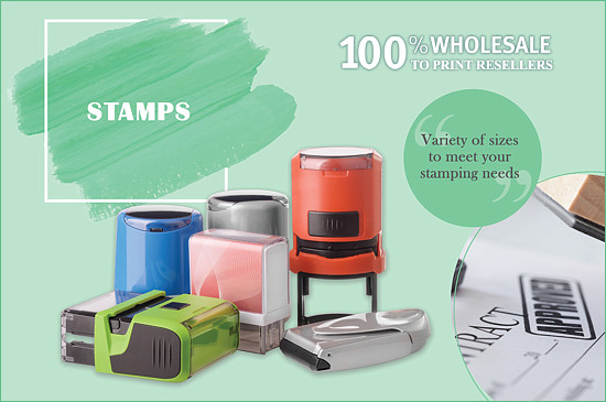 Stamps: A variety of sizes to meet your stamping needs. 100% Wholesale to print resellers.