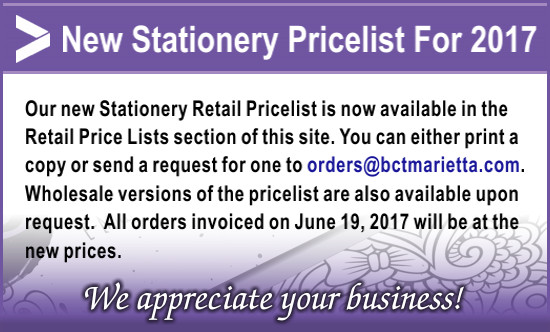 New Stationery Pricelist Now Available. Click here for details.